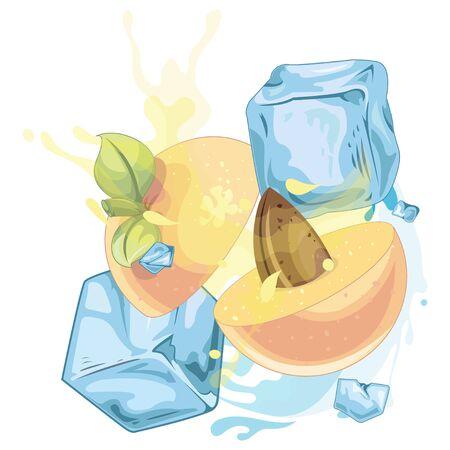 Peach ice cube - illustration Imagens - 129017146