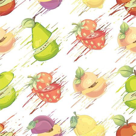 Fruits pattern - illustration Imagens - 129017147