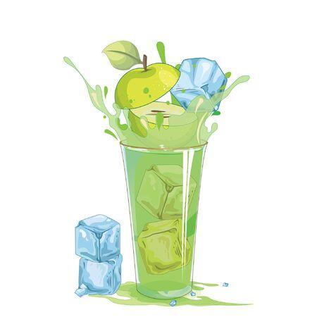 Green apple splash out of glass - illustration Imagens - 129017153