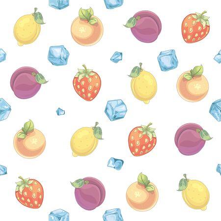 Fruits pattern - illustration Imagens - 129017216