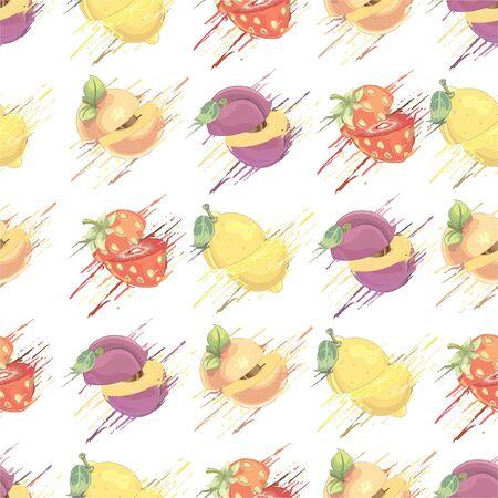 Fruits pattern - illustration Imagens - 129017243