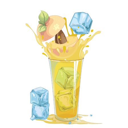peach splash out of glass - illustration