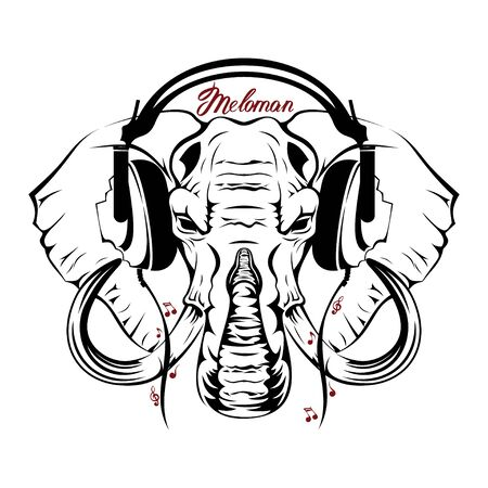 Vector image of an elephant executed in the form of a tattoo