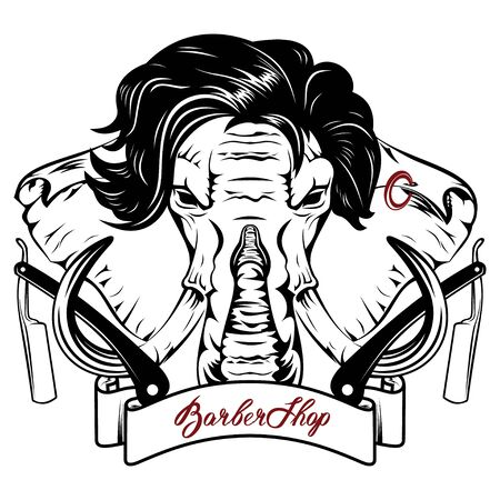 Vector image of an elephant executed in the form of a tattoo in the image of hairdresser