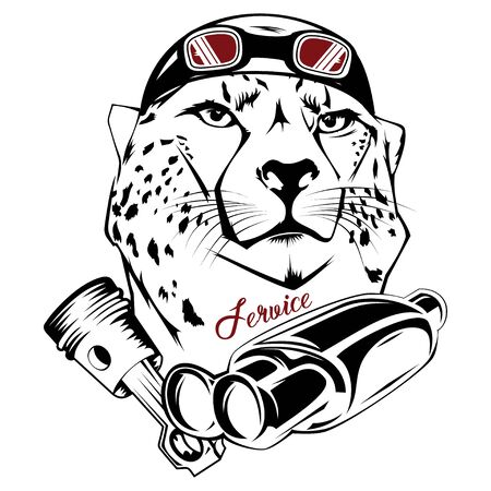 Vector image of an cheetah executed in the form of a tattoo Çizim