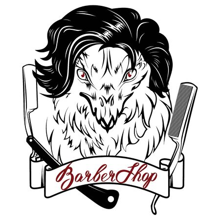 Vector image of an griffin executed in the form of a tattoo in the image of hairdresser