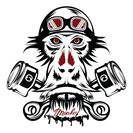 Vector image of an monkey executed in the form of a tattoo Çizim