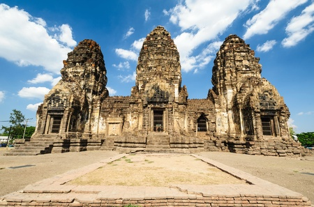 Ancient pagoda architecture  Phra Prang Sam Yot in Lopburi Thailand  photo
