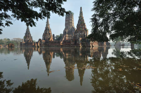 Floods  Ancient pagoda architecture in ayutthaya   thailand   photo