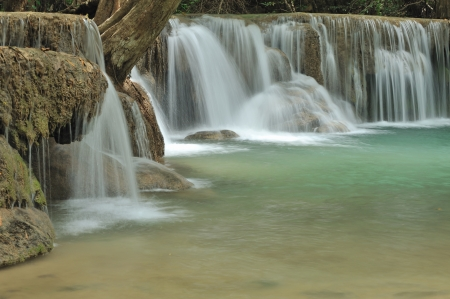 Forest Stream and Waterfall  in kanchanaburi, Thailand    photo