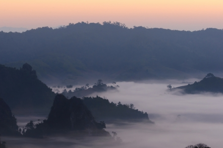 highlands region: Sunrise light morning mistmountain  Phu Lanka national park in Phayao ,Thailand