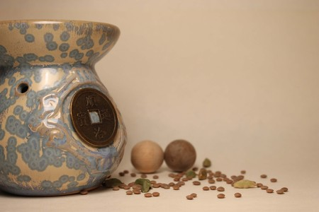 Chinese Blue Old Ethnic Vase In Feng Shui Style With Coin On