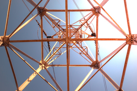 High voltage post, power line. Overhead cable industry technology. Stockfoto - 111299345