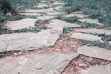 Old stone road, close up stone slab. Imagens - 111299454