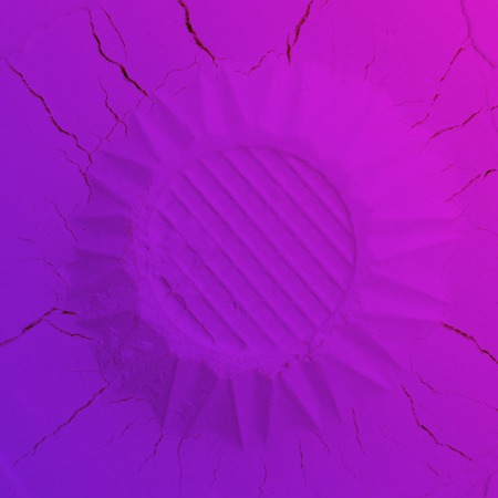 Abstract lilac and blue gradient background made of decorative flower like hemisphere.
