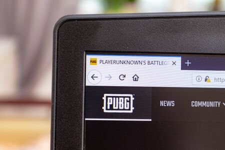 MOSCOW, RUSSIA - JANUARY 08, 2018: Logo PUBG, Playerunknown's buttlegrounds on a screen of laptop, nline gaming. Sajtókép