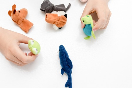 A caucasian boy playing finger puppets, toys, dolls - figures of animals, heroes of the puppet theatre put on fingers of human hand. Standard-Bild