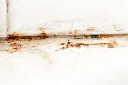 Mold fungus and rust growing in tile joints in damp poorly ventilated bathroom with high humidity, wtness, moisture and dampness problem in bath areas concept Stock Photo