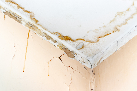 Rain water leaks on the ceiling because of damaged roof causing decay, peeling paint and moldy. Reklamní fotografie