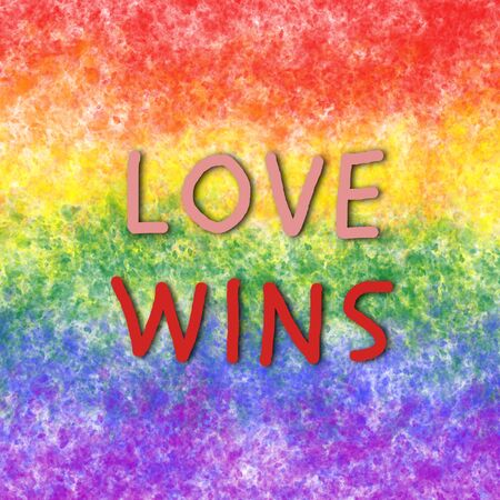 Digitally generated sign with tag love wins on lgbt rainbow colored background. 写真素材
