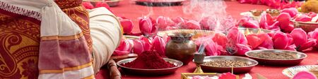 Indian wedding ceremony, decorations for traditional ethnic rituals for marriage.