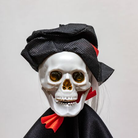 Creepy smiling skeleton skull wearing carnival costume for halloween close up on white background, death and mystery concept, halloween.