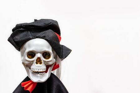 Creepy smiling skeleton skull wearing carnival costume for halloween close up on white background with copy space, death and mystery concept, halloween.