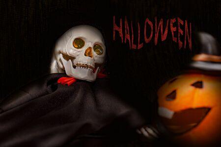 Halloween card with spooky skeleton and orange pumpkin on dark background. Stok Fotoğraf