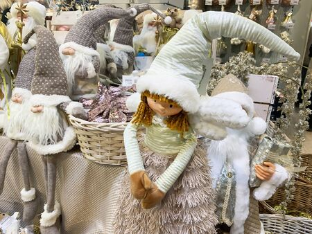 Moscow, Russia - November 06, 2019: Scandinavian nordic christmas decorations in pastel colors on christmas fair, market. Reklamní fotografie - 137615843