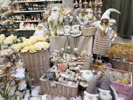 Moscow, Russia - November 06, 2019: Scandinavian nordic christmas decorations in pastel colors on christmas fair, market. Redakční