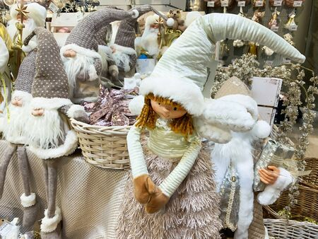 Moscow, Russia - November 06, 2019: Scandinavian nordic christmas decorations in pastel colors on christmas fair, market. Reklamní fotografie - 137708393