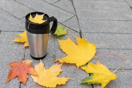 Season, autumn hot drinks and picnic concept - metal thermo coffee cup surrounded by colorful yellow leaves with copy space. Reklamní fotografie - 137124488