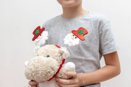 A boy holding a soft toy, teddy hippo with christmas holiday accessories, carnival costume with toy fir trees on white background - children party concept. Reklamní fotografie - 137125030