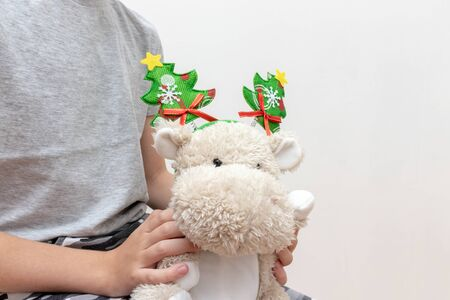 A boy holding a soft toy, teddy hippo with christmas holiday accessories, carnival costume with toy fir trees on white background - children party concept.