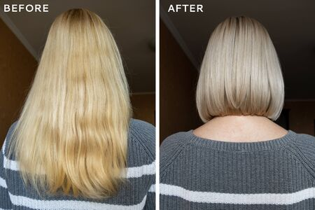 Blond woman before and after haircut, cutting long hair concept, hair styling and care procedures. Reklamní fotografie - 141245898