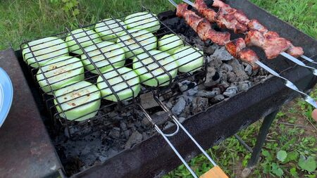 A person making grilled meat and vegetables, zucchini, barbecue concept. Reklamní fotografie - 141248932