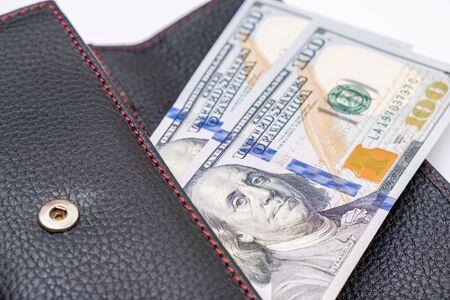 Us dollars in a wallet, saving money and wealth concept. Reklamní fotografie - 141989190