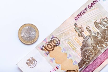 Euro and russian rubles, currency exchange rate. Reklamní fotografie