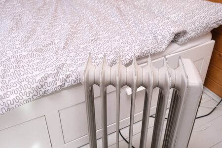 Oil-filled electrical mobile radiator heater for home heating and comfort control in the room.
