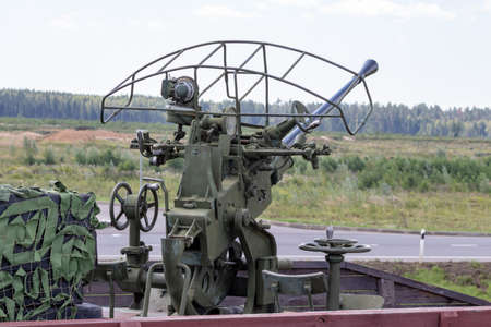 Moscow, Russia - July 28, 2019: Park Patriot, anti aircraft gun of second world war mounted on a train. Editorial