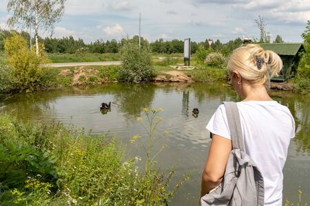 Woman tourist, backpacker standing near the lake and looking on the black swans in summer.