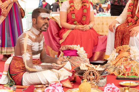 Moscow, Russia - August 03, 2019: Traditional Hindu wedding ceremony on a traditional indian culture festival. Editorial