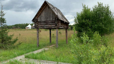 Landscape with small building on poles, a traditional raised log storage shed in Siberia built with people in order to keep wild animals away where gear, clothing, products, meat areored, summer time.