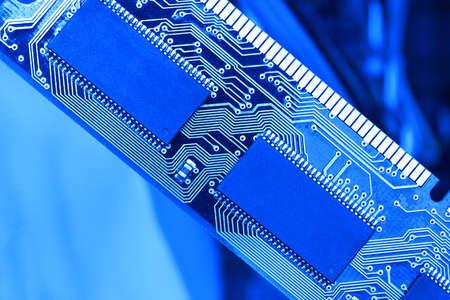 Computer RAM, system, main memory, random access memory, high-tech computer detail toned blue close-up, new modern intelligent technology.