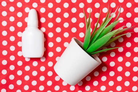 White nasal spray with herbs on red dotted background as herbal treatment of nose congestion, sinusitis and rhinitis concept. Reklamní fotografie