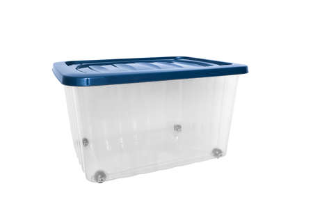 A transparent big plastic portable container, storage box on wheels with blue cover for general purpose, household equipment isolated on white.