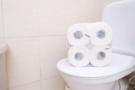 Many toilet paper rolls at home of hoarder, buying too much of hygienic means during pandemia