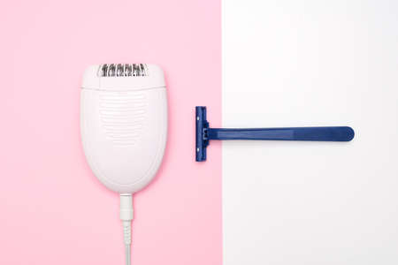 Razor or shaver vs epilator concept, electric vs manual removing unwanted hair on legs and body