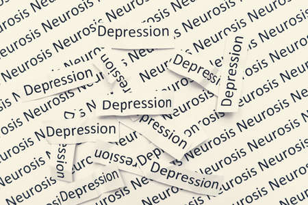Signs words depression lying in a mess on a paper with neurosis sign, concept of sadness, apathy and low mood