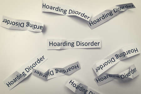 Hoarding disorder signs, mental health problem when people collect different useless things and waste and bring them home